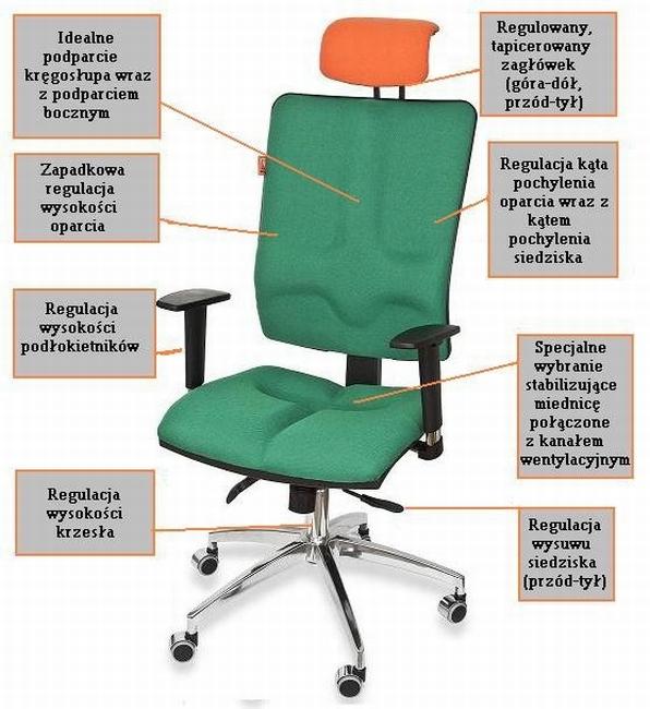 Krzesła biurowe ergonomiczne Galaxy - dostępne regulacje
